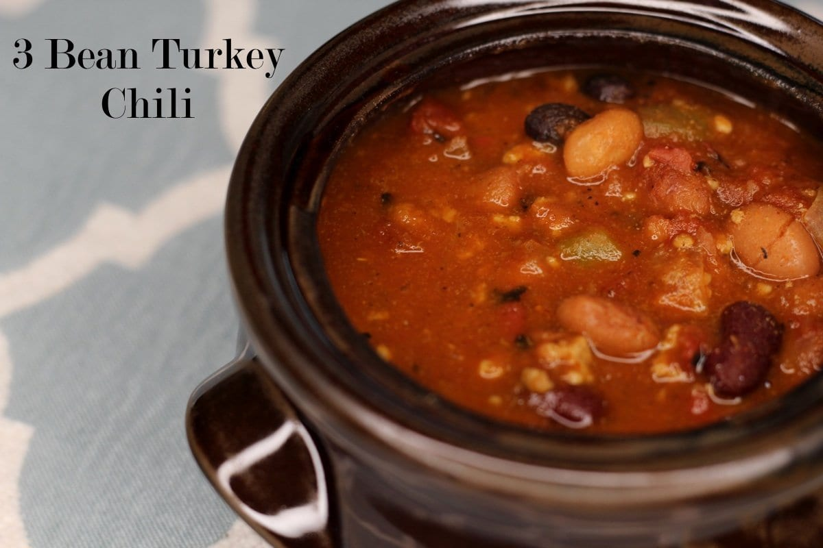 Slow Cooker or Stove Cooked 3 Bean Turkey Chili